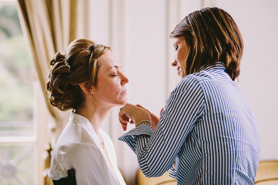 Bride having her make up done at Bath Spa Hotel