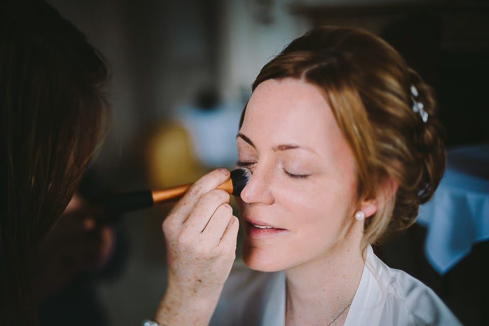 Close up of bride having her make up applied at Bath Spa Hotel
