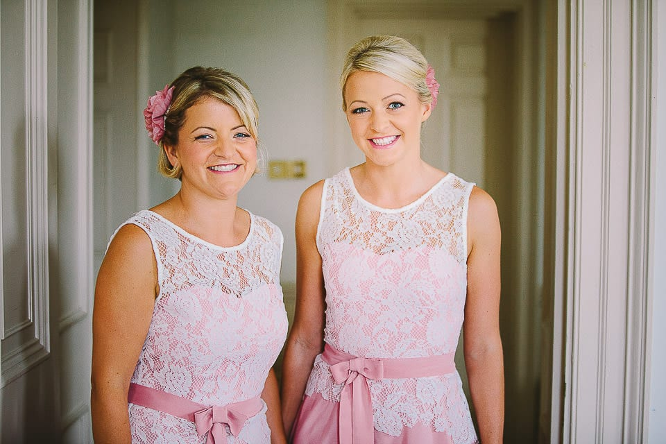 Portrait of two bridesmaids in the hotel room at Bath Spa Hotel