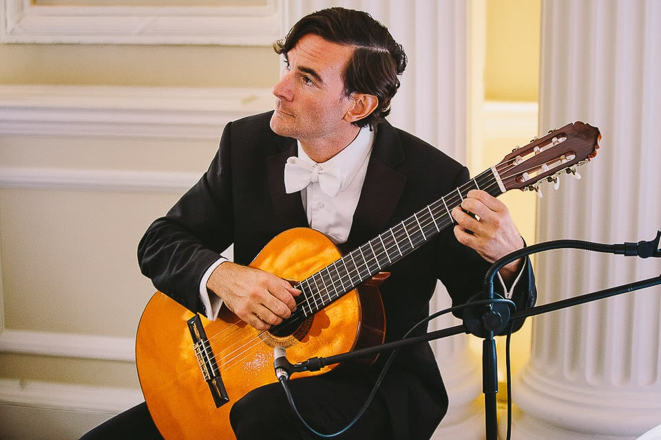 Guitar player during the wedding ceremony at Bath Spa Hotel