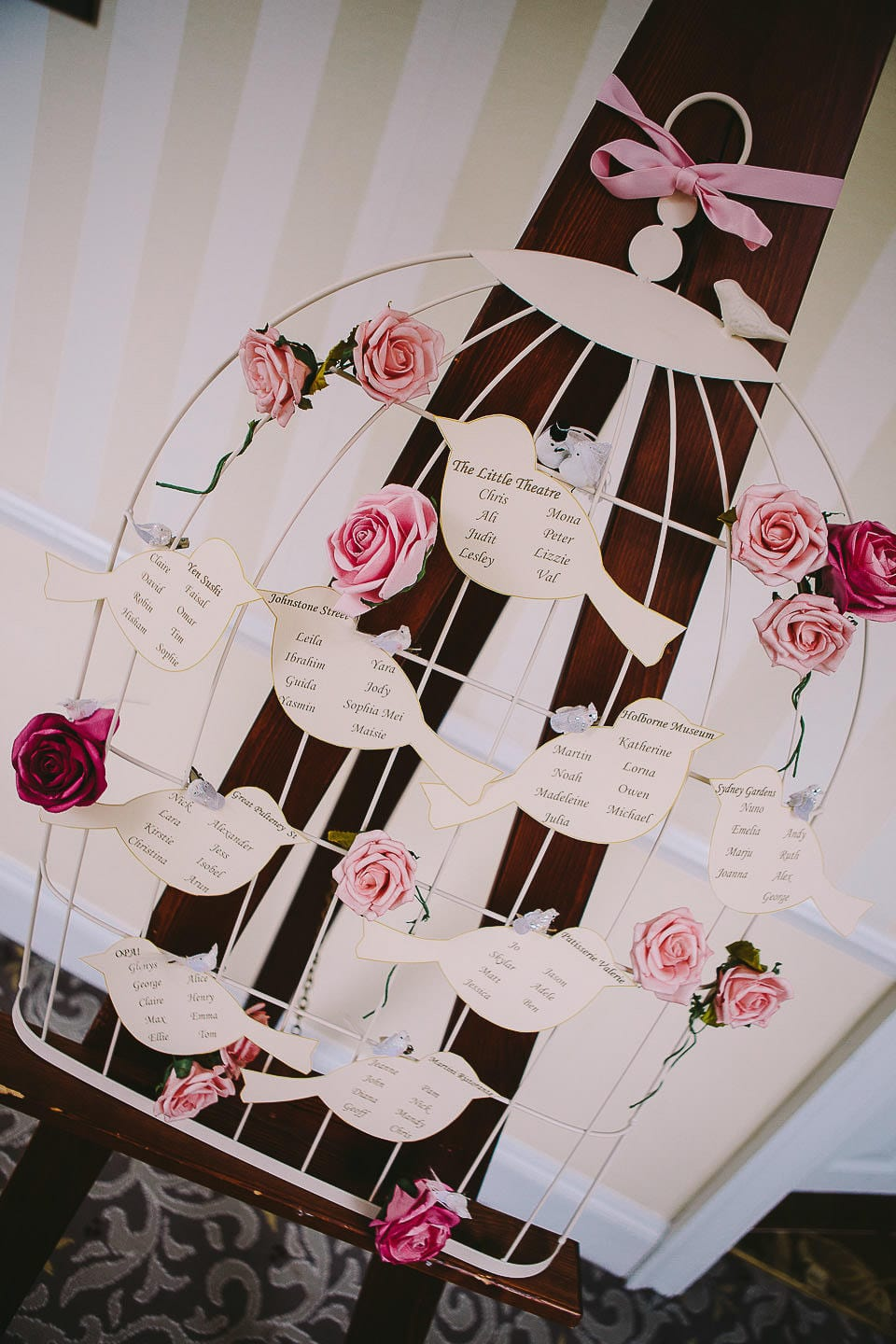 Birdcage themed table plan for the wedding breakfast at Bath Spa Hotel