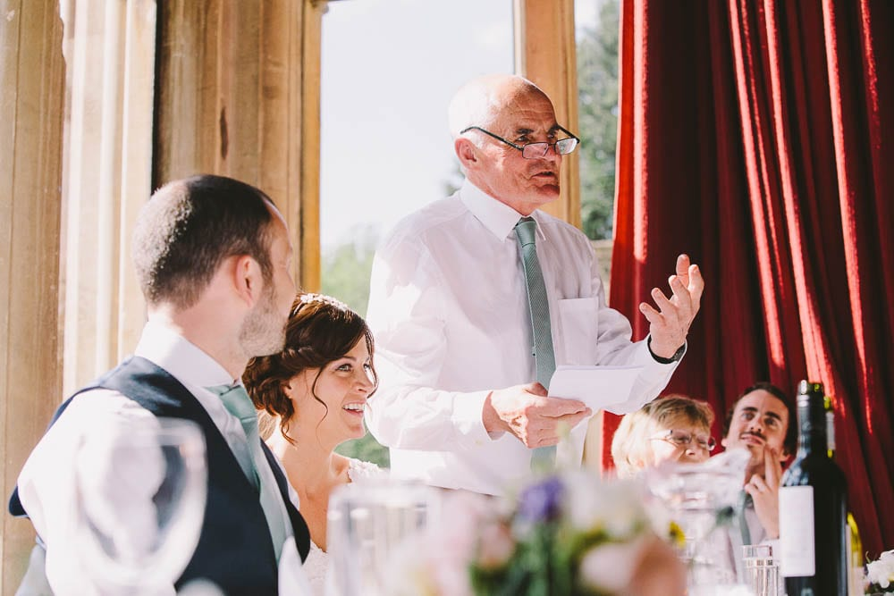 Brides father doing his speech at Grittleton House