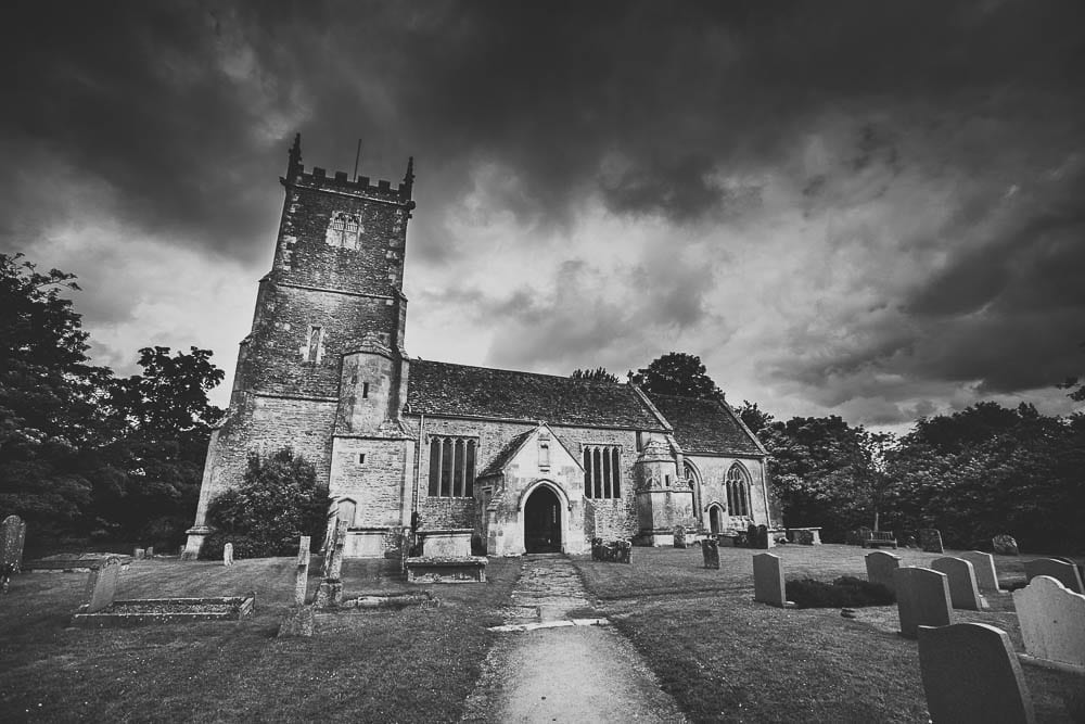 Black and white image of Great Somerford Church
