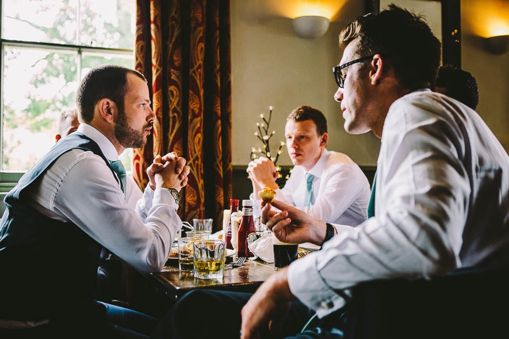 Groom and his boys enjoying a drink in the Somerford Arms
