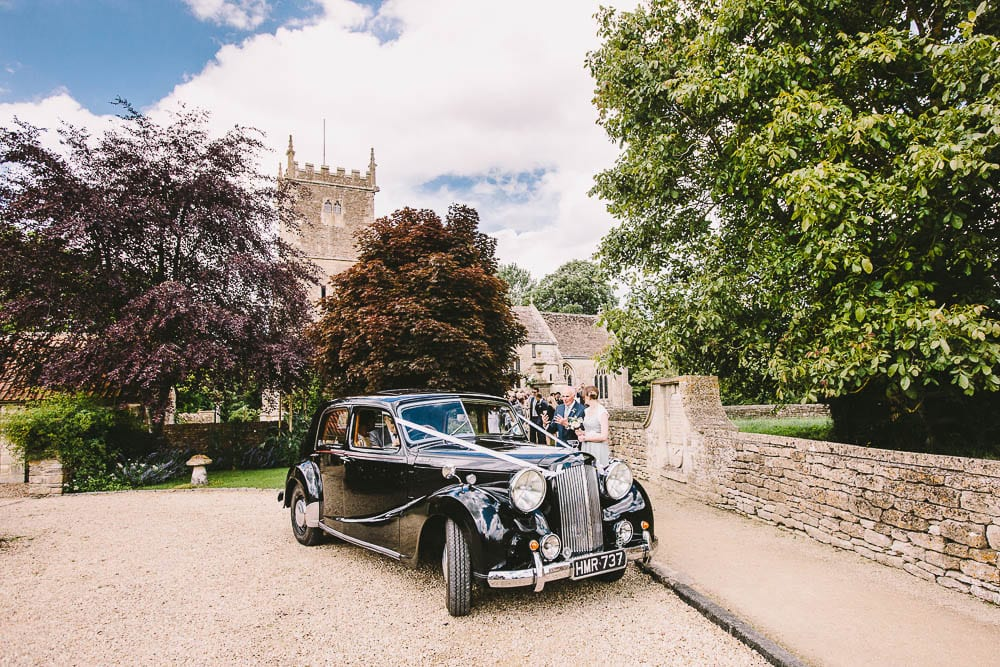 The wedding car outside Great Somerford church