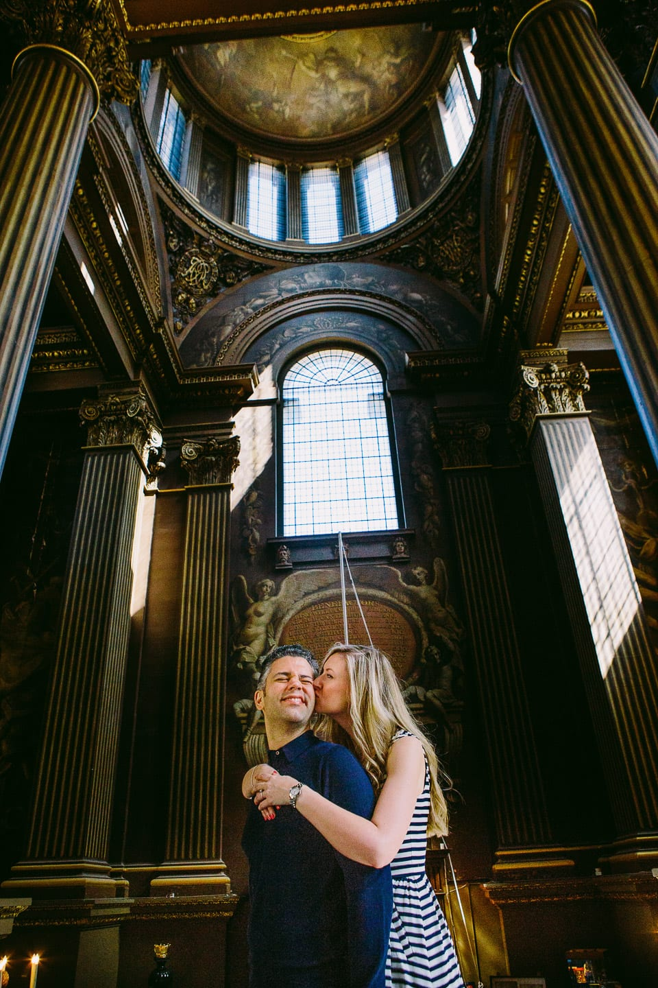 Engaged couple at Greenwich Old Naval College