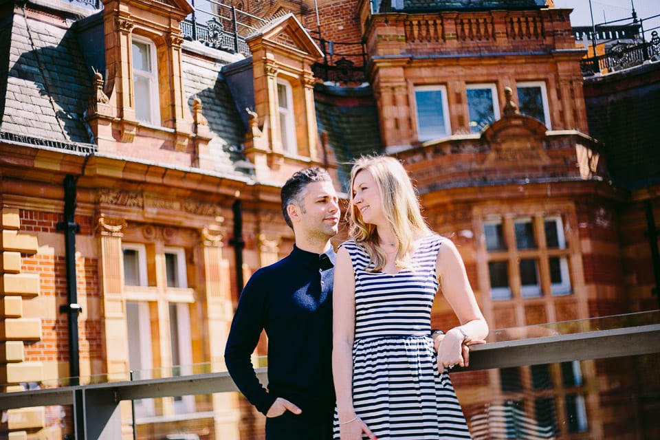 Engaged couple at Greenwich Observatory