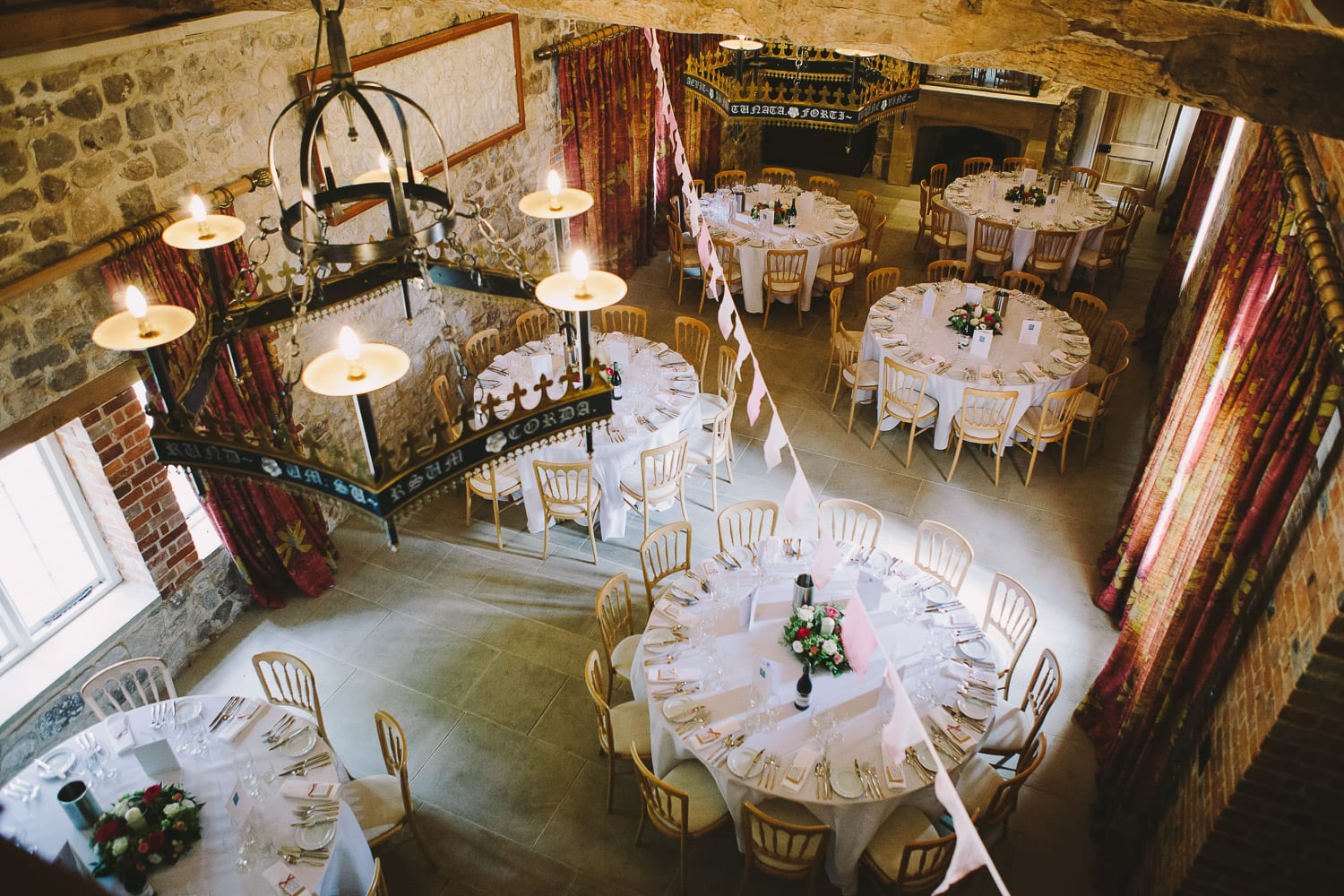 The wedding tables in the baronial hall