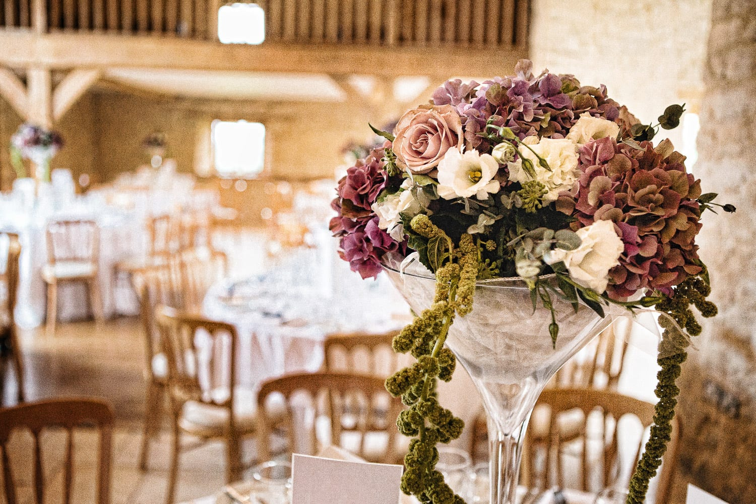 wedding flowers at Kingscote Barn