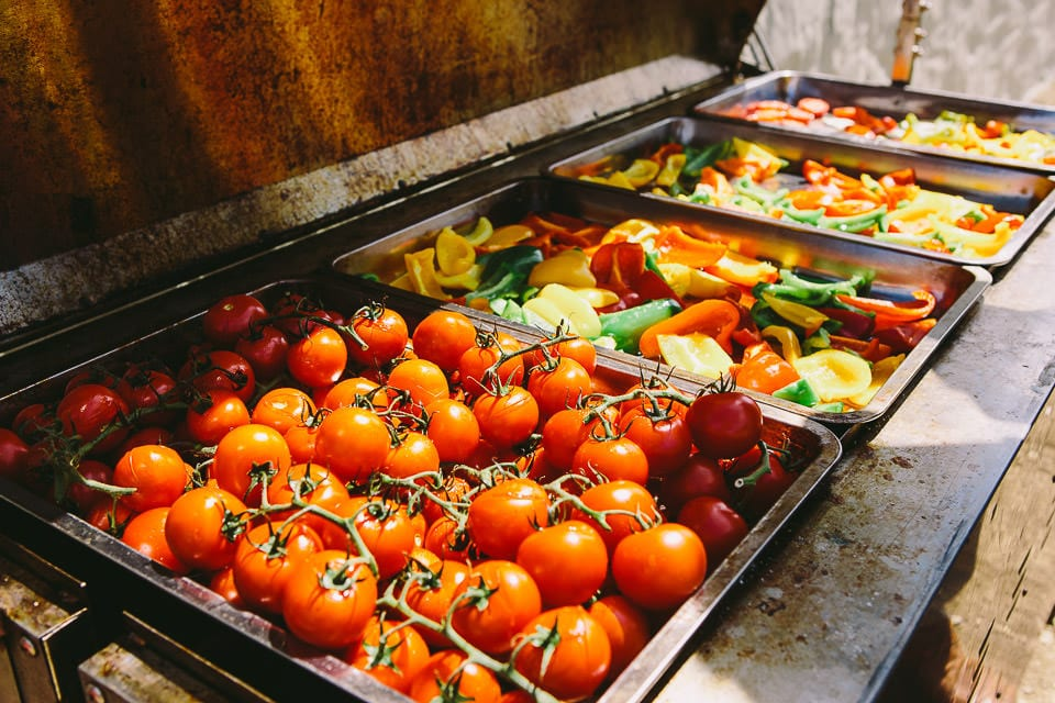 Colourful image of food in the caterers area