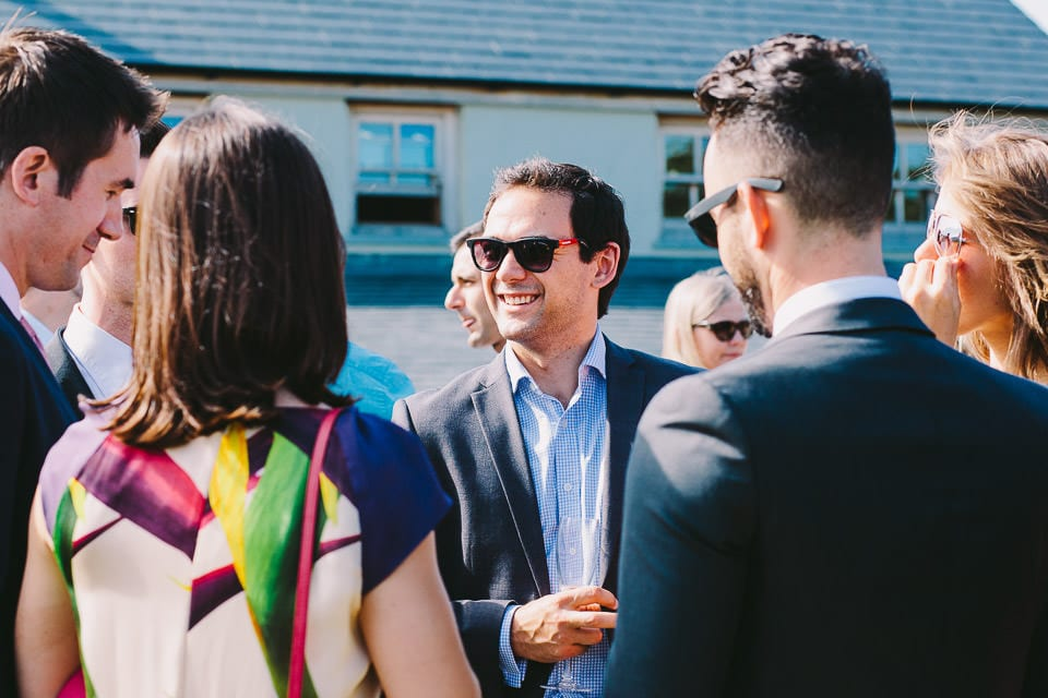 Wedding guests in sunglasses
