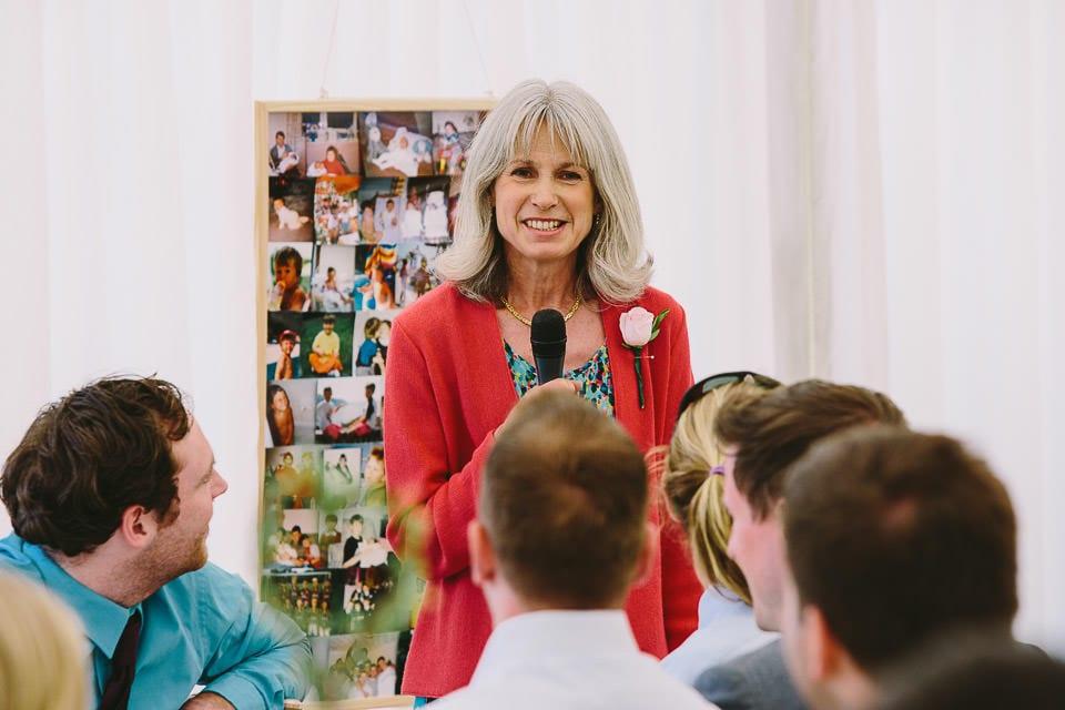 Brides mother doing a speech