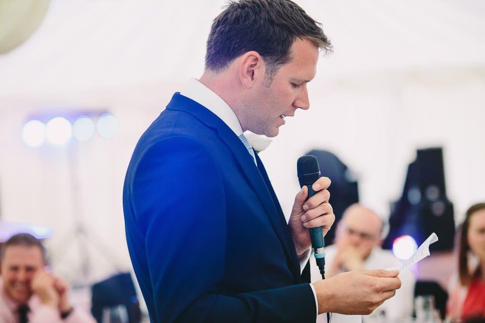 Best man doing his speech