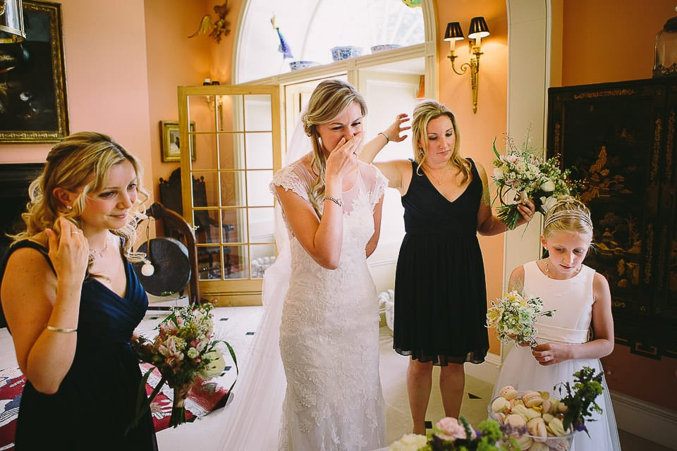 Bride seeing her wedding cake for the first time