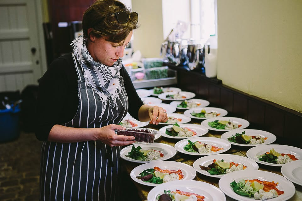 Caterer preparing starters in the kitchen