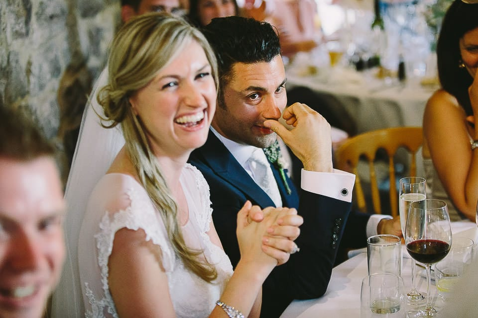 Bride and grooms reaction to wedding song