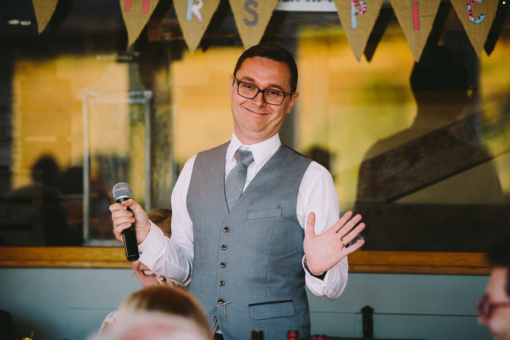 Groom doing his speech at Cripps Stone Barn