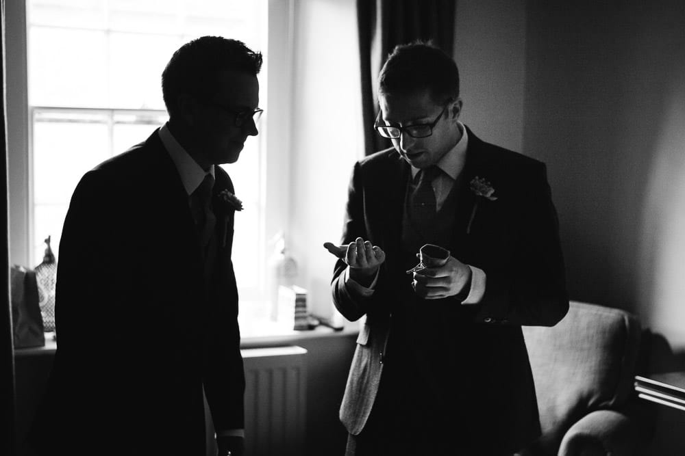 Best man and usher in the hotel room at The Wheatsheaf Inn