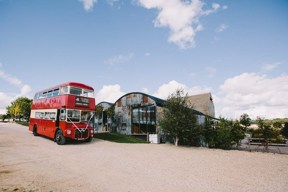 Vintage bus outside the Dutch barn at Cripps Stone Barn