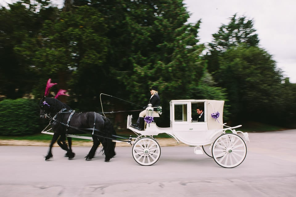 Bride and groom set off for short trip in horse drawn carriage
