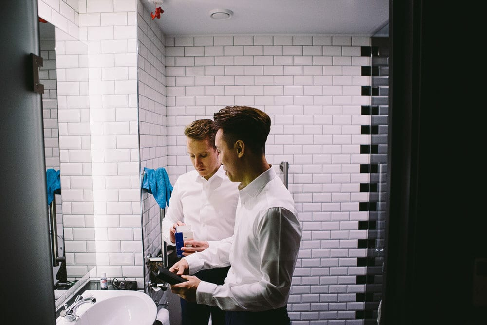 Both grooms getting ready at The Hoxton London