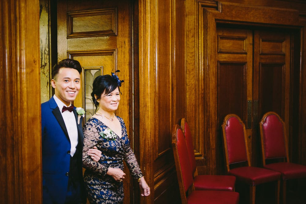 Groom and his mother entering the Grand Chamber for the ceremony