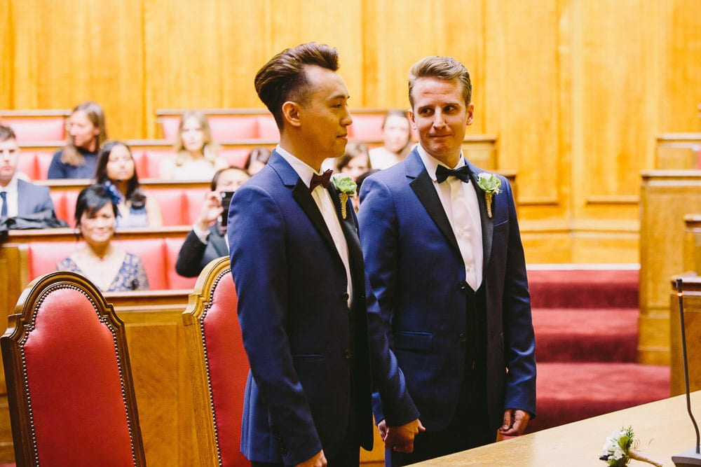 Both grooms during the ceremony at Wandsworth Town Hall