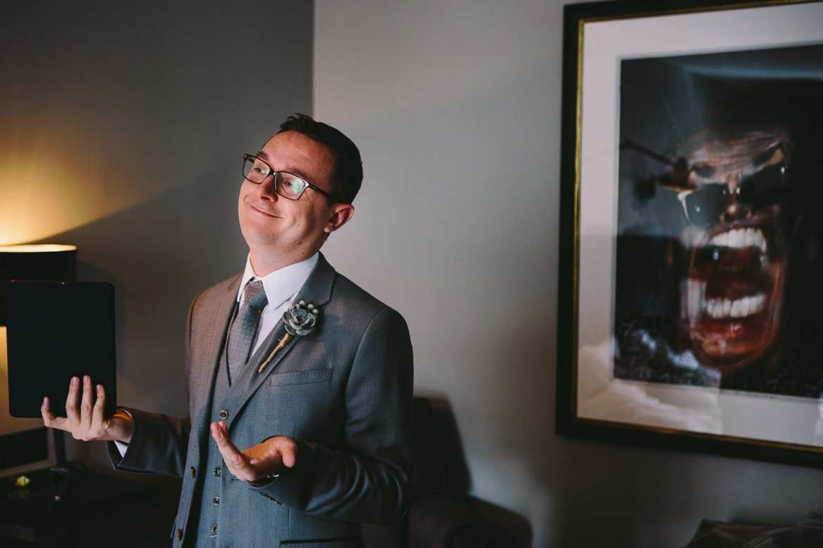 Groom's emotion after run through of his speech