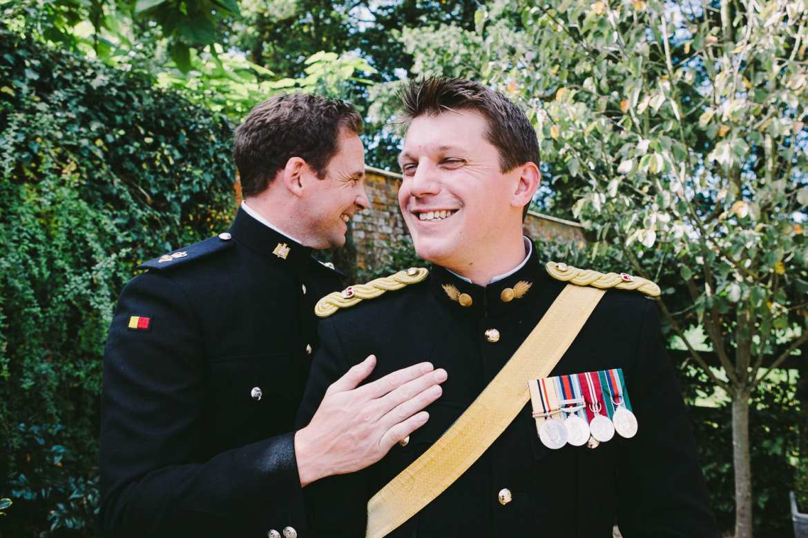 Military groom and his best man