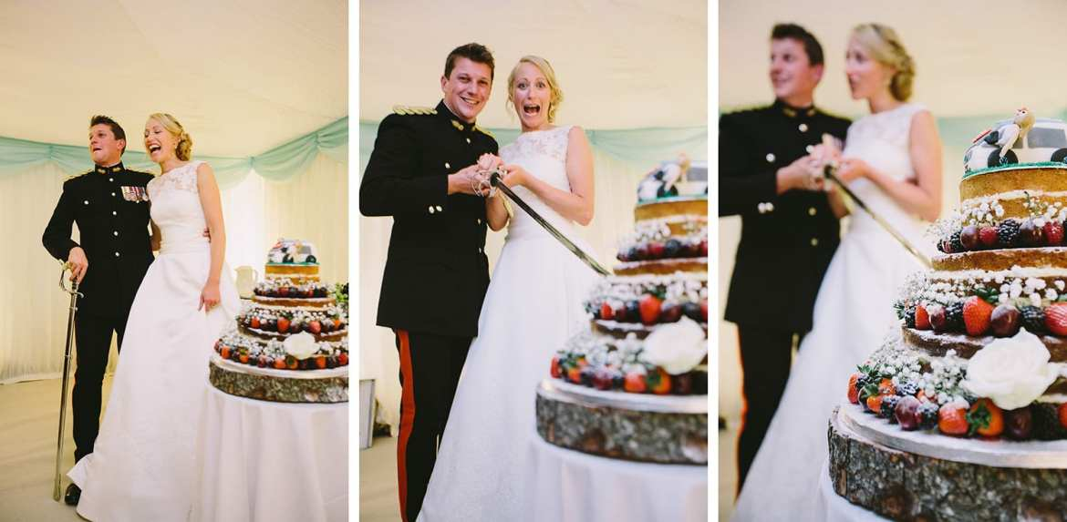 Three shots together of cake cutting with military sword