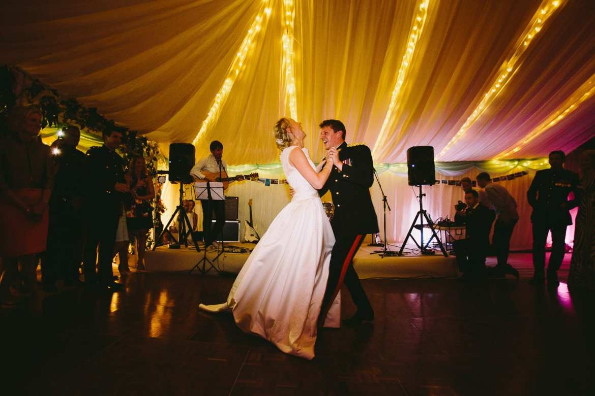 Bride and groom starting their first dance