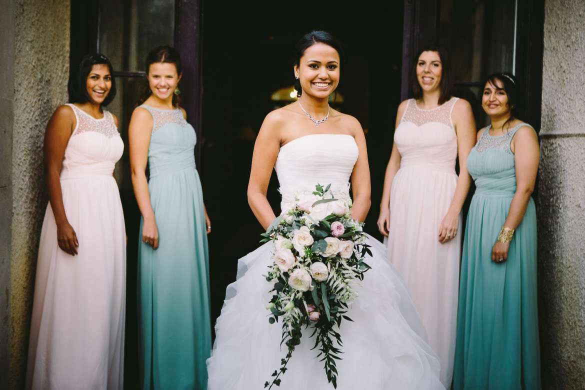 The bride and bridesmaids outside the house at the Matara Centre