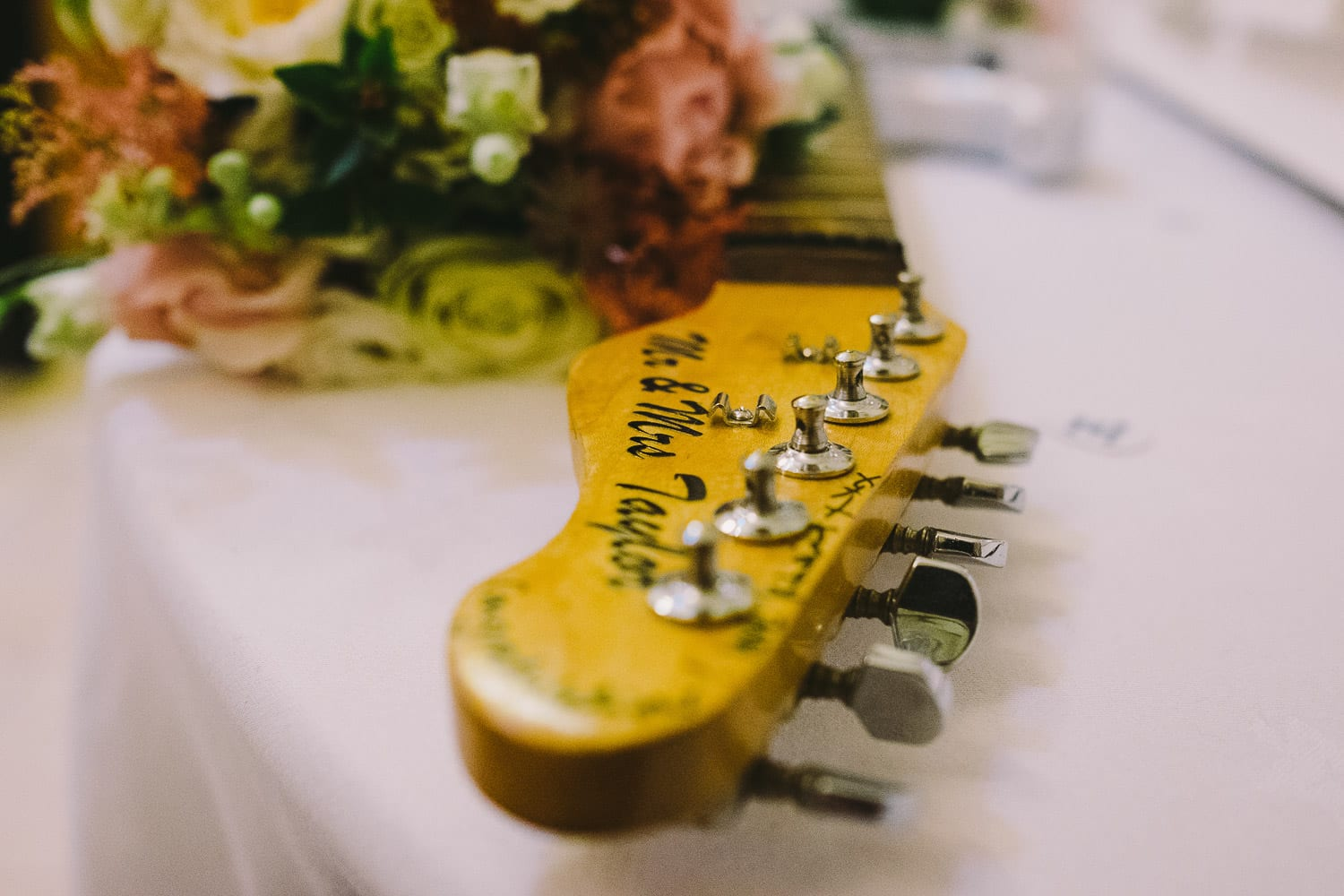 A guitar for the guests to sign