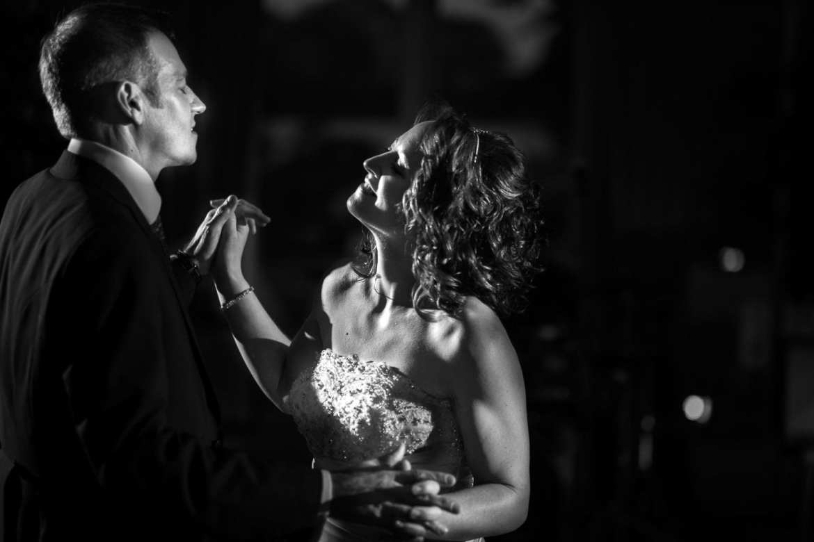 Black and white picture of bride and grooms first dance at Greenlands