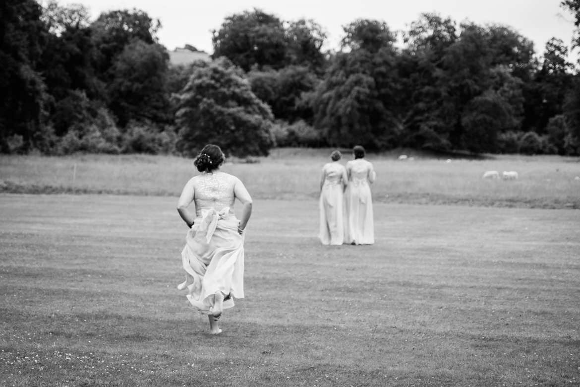 Bridesmaids on the lawn at Rockley Manor