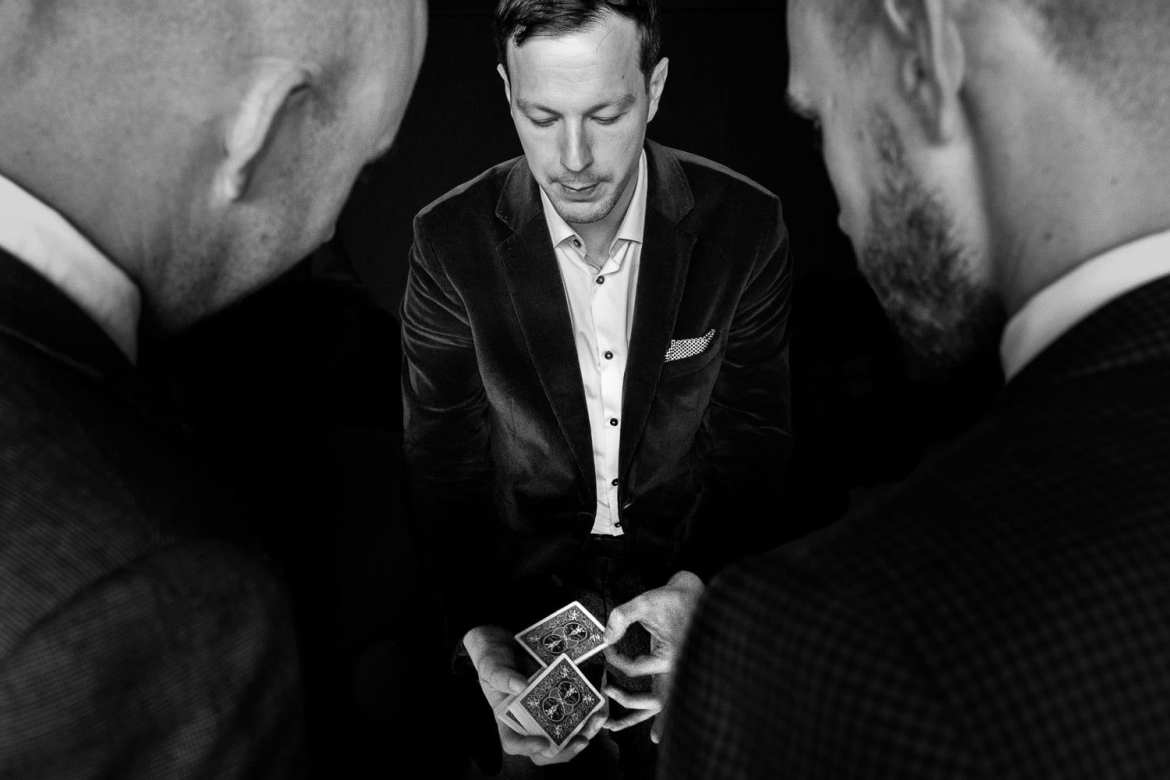 A magician performs for guests