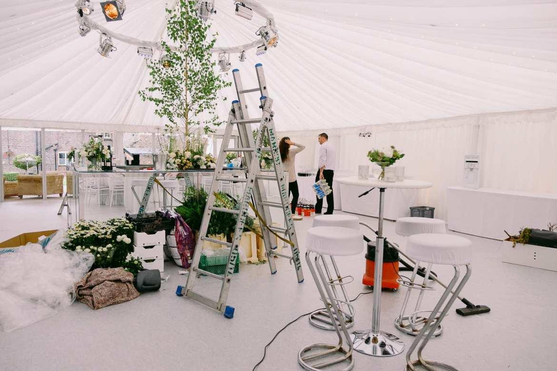 Preparing the luxury wedding marquee