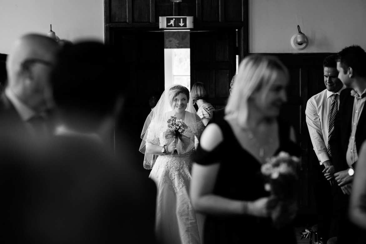 The bride arrives at Calne Town Hall