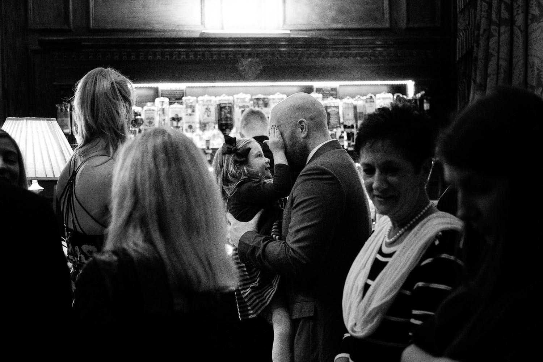Wedding guests at the bar
