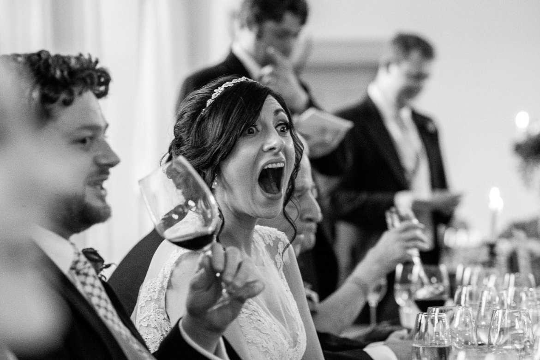 The bride laughs out loud