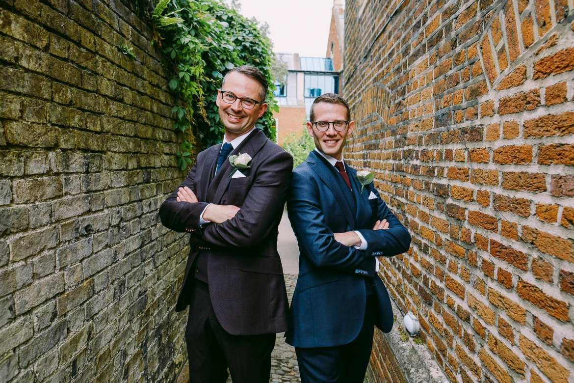 A portrait of the two grooms