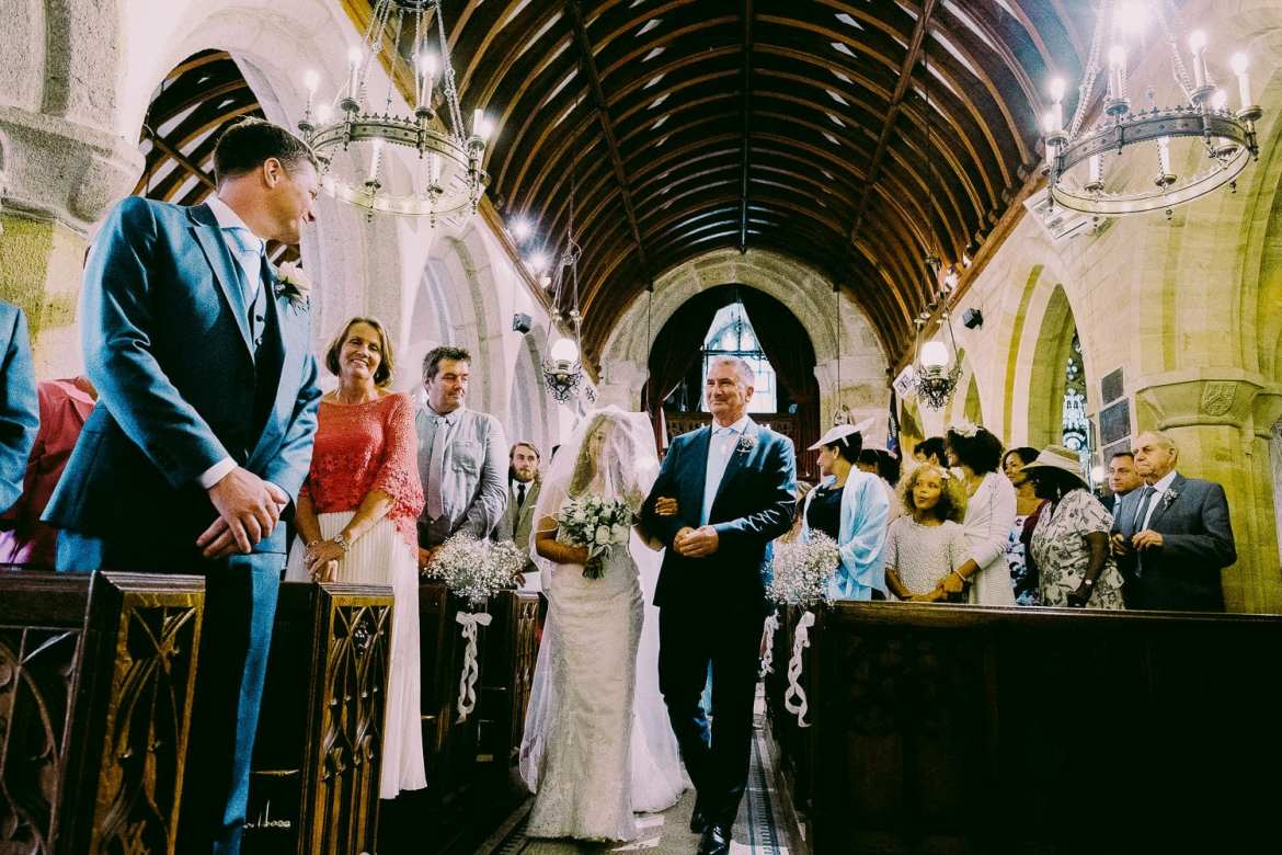 The bride and groom see each other for the first time
