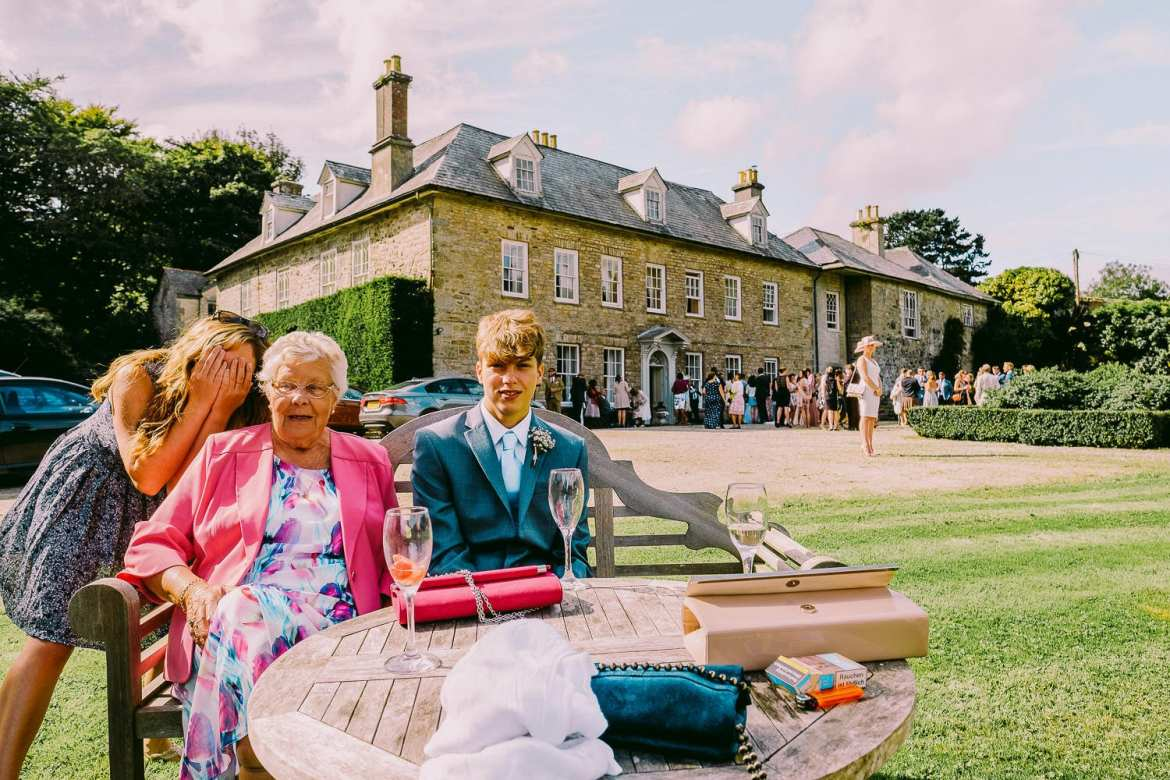 Wedding guests at Trereife house