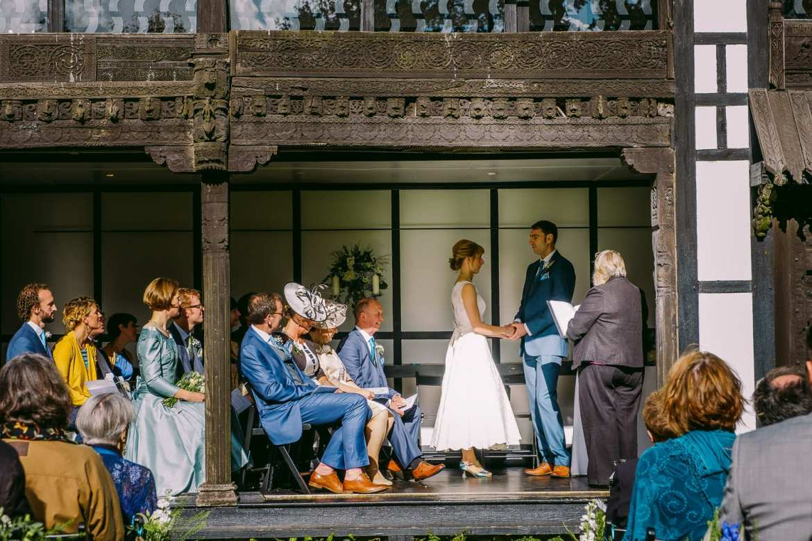 View of the wedding ceremony in the pavilion