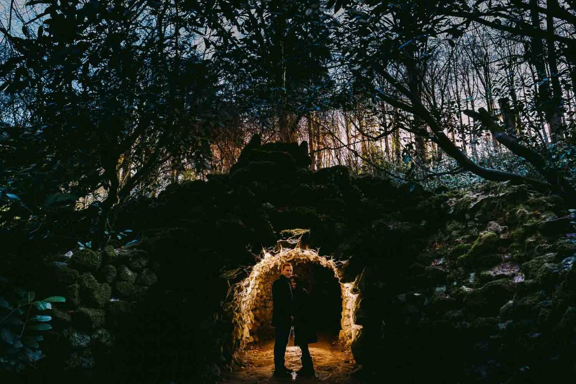 The newly engaged couple in the grotto at stourhead