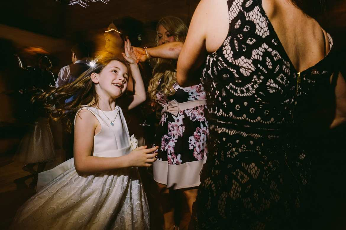 A flower girl dancing