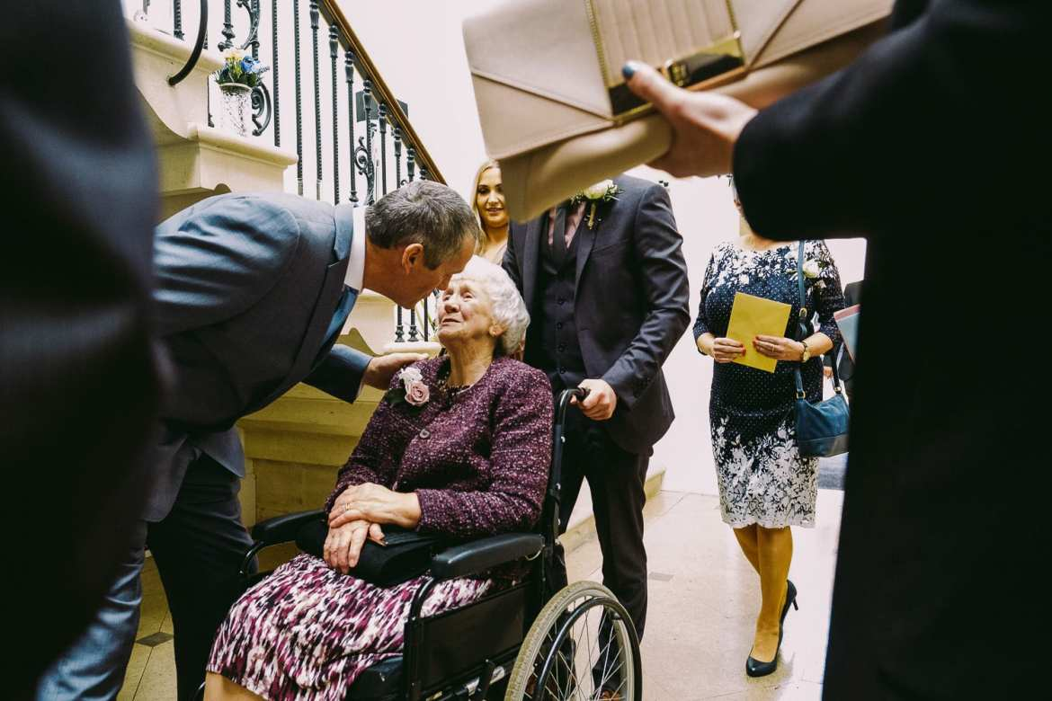 Grandma arrives for the wedding