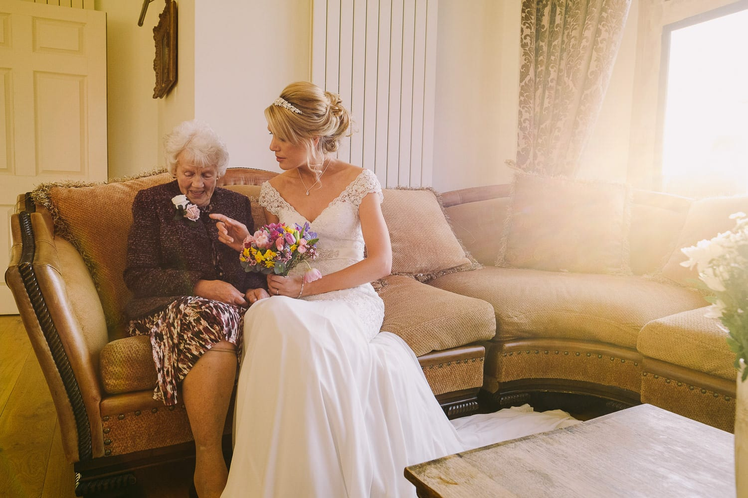 The bride takes a moment with her Grandma