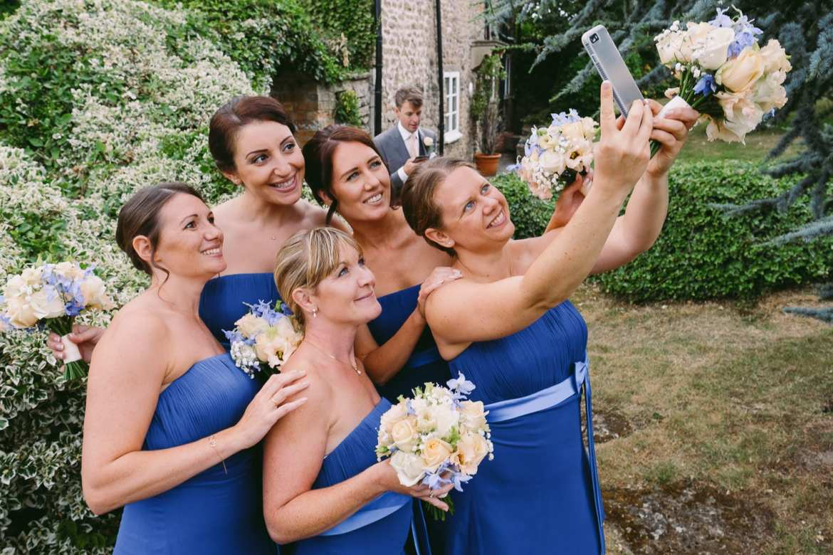 The bridesmaids take a selfie