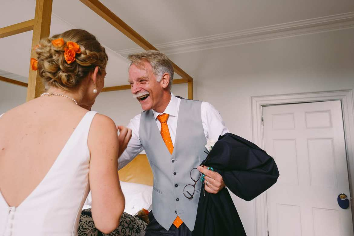 Dad seeing the bride in her wedding dress
